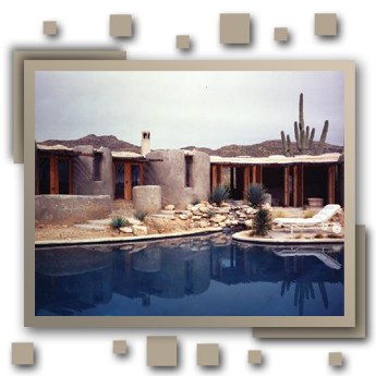 Private residence guest house, Tucson Arizona, overlooking the Sonora Desert to Mexico. Featured in Architectural Digest Top 100 Architects of the World, gunite and fir.